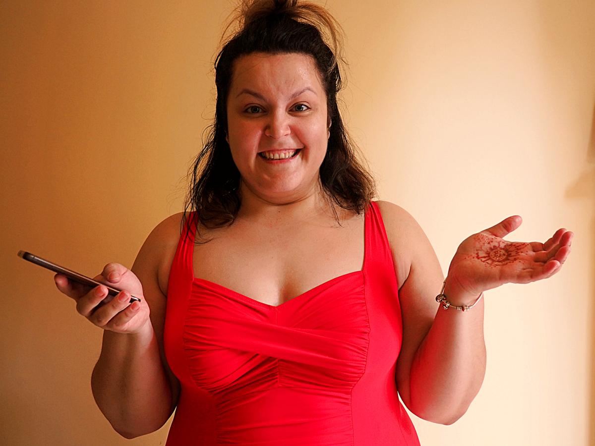 kostium kąpielowy plus size - Galanta Lala w czerwonym kostiumie